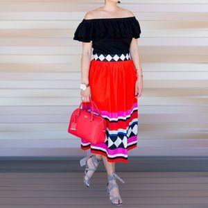 NWT Kate Spade red geometric stripe midi skirt